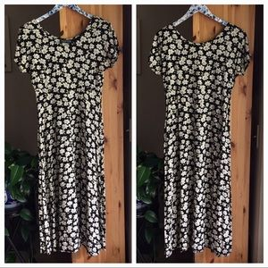 Vintage 90s Short Sleeve Floral Maxi Dress, 10